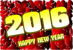 Happy new year 2016 in red background Stock Images
