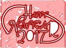 Happy new year 2017 in red background. Image usable in all projects about new years day Stock Photo
