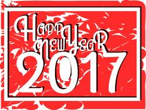 Happy new year 2017 in red background. Image usable in all projects about new years day Royalty Free Stock Image