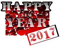 Happy new year 2017 in red background isolated Stock Photos