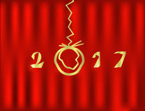 2017  Happy New Year red Background. 2017 Merry Christmas and Happy New Year red Background Stock Photo