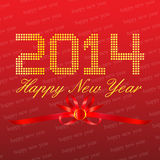 Happy New Year 2014 Red Background. With ribbon Royalty Free Illustration