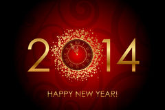 Happy New Year red background with shiny gold cloc Stock Photos