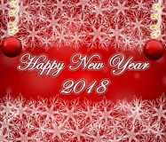 Happy new year 2018 red background with snowflakes frame. Happy new year 2018 red background with snowflakes frame and ornament ball stock illustration