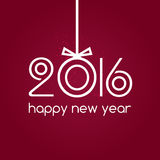 Happy new year 2016 red background, typography. With xmas ball Stock Photos