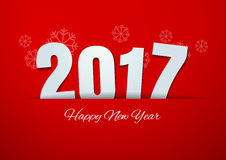 Happy New Year 2017 on Red Background. Vector Illustration Stock Photography