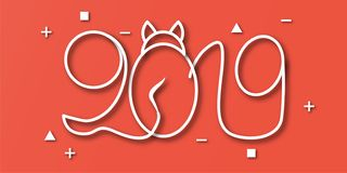 Happy New Year 2019 with on red background. Vector illustration. With calligraphy design of number in paper cut and digital craft style royalty free illustration