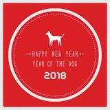 Happy new year 2018 on red background. Year of the dog royalty free illustration