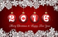 Happy new year 2016 on red ball background Stock Images