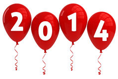 Year 2014 Red Balloons Stock Image