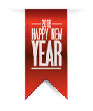 Happy new year red banner 2016 sign. Illustration design graphic Royalty Free Stock Photos