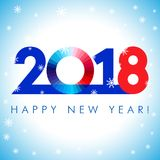 2018 Happy New Year red and blue card. 2018 A Happy New Year greetings. Blue, red and white numbers,  0 symbol. Congratulating celebrating colored minimal winter Royalty Free Stock Photos