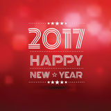 Happy new year 2017. In red bokeh blur pattern background ,vector illustration Stock Images