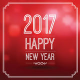 Happy new year 2017. In red bokeh pattern background with vintage frame,vector illustration Royalty Free Stock Photo