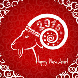 Happy New year red card with goat horn. Vector illustration Stock Illustration