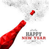 Happy new year red champagne bottle low poly. Happy New Year 2017 fancy red champagne bottle in hipster triangle low poly style. Ideal for greeting card or Stock Photography