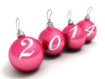 Happy new year 2014 red christmas balls on a white background. 3d Royalty Free Stock Photos