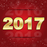 2017 happy new year on red christmas snowflakes background Stock Photography