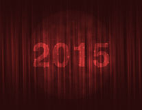 Happy new year 2015 on red curtain. Background Royalty Free Stock Photo