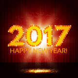 Happy New 2017 Year on red curtain. Vector illustration Stock Photos