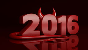 Happy new year 2016 red devil. Design made in 3D Vector Illustration