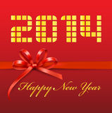 Happy New Year 2014 red digital Royalty Free Stock Photos