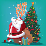 Happy New Year red Father Christmas with spruce Stock Images