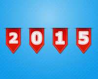 Happy New Year 2015 with Red Flag. Vector Illustration Royalty Free Stock Photo