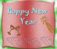 Happy New Year. On red glitter background with snowflakes Stock Photo