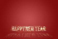 Happy New Year Red And Golden Card. Happy New Year golden typo card over red background vector illustration