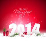 Happy new Year 2014. Red greeting card stock illustration