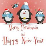 New Year penguins red greeting card vector. Happy New Year red greeting card with cute four penguins vector illustration Stock Photos