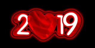 Happy new year 2019 with red heart and red numbers, 3D illustration, isolated on white. Happy new year 2019 with red heart and red numbers, 3D illustration vector illustration
