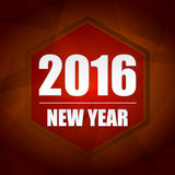 Happy new year 2016 in red hexagon label Royalty Free Stock Photography