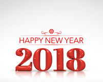 2018 Happy new year red number 3d rendering on white studio ro. Om,Holiday card vector illustration
