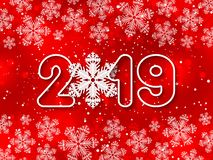 Happy New Year 2019 red paper cut out vector background. Happy New Year 2019 red paper cut out background with snowflake decoration. Vector illustration vector illustration
