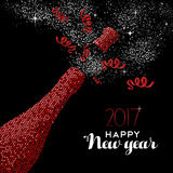 Happy New Year 2017 red party bottle illustration. Happy New Year 2017 luxury red champagne bottle celebration in mosaic style. Ideal for holiday card or elegant Stock Photography