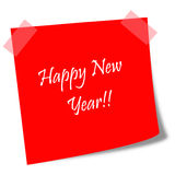 Happy new year red post it note Royalty Free Stock Photos