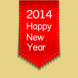 Happy new year red ribbon card Stock Images