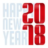 2018 happy new year red ribbon on white background. 2018 happy new year red ribbon font on white background vector illustration