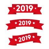 Happy New year red ribbon royalty free illustration
