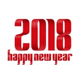 2018 happy new year red ribbon on white background. With shadow royalty free illustration