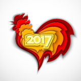 Happy New Year 2017 of the red rooster. Happy New Year 2017. Red rooster chinese simbol of year. Vector illustration in color paper cut style stock illustration