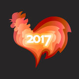 Happy New Year 2017 of the red rooster. Happy New Year 2017. Red rooster chinese simbol of year. Vector illustration in color paper cut style on black Stock Photos