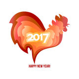 Happy New Year 2017 of the red rooster. Happy New Year 2017. Red rooster chinese simbol of year. Vector illustration in color paper cut style on white Stock Images