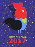 Happy New Year of the red Rooster. Greeting card. Royalty Free Stock Images