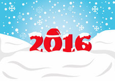 Happy New Year 2016. With red Santa Claus hat on falling snow and snow flake background Royalty Free Stock Photos