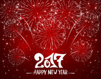 Happy New Year and red sparkle firework. Lettering Happy New Year 2017 and sparkling fireworks on red shiny background, holiday greeting, illustration Stock Images