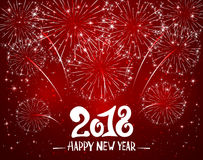 Happy New Year 2018 and red sparkle firework. Lettering Happy New Year 2018 and sparkling fireworks on red shiny background, holiday greeting, illustration Royalty Free Stock Photography