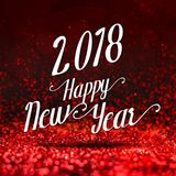 Happy new year 2018 at red sparkling glitter,Holiday greeting ca. Rd design Stock Image